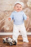 Boy's White/Blue 4 - piece Smart Outfit
